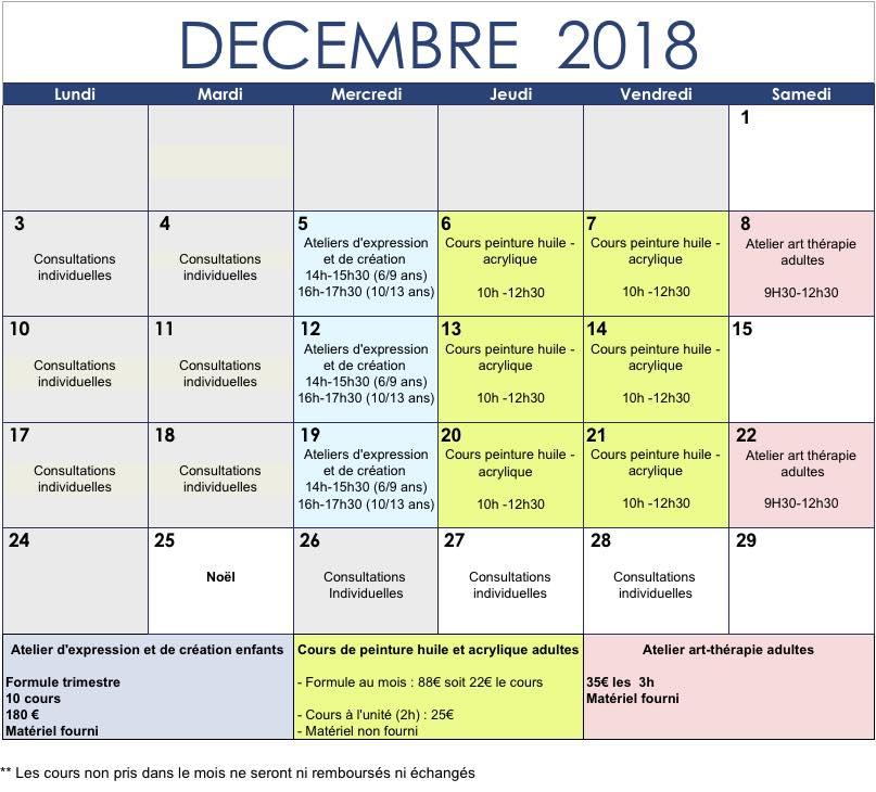 Planning de décembre 2018 des cours et des ateliers de peintures, d'expressions, de créations proposés par Lysiane Crespin à Le Patio à Auray
