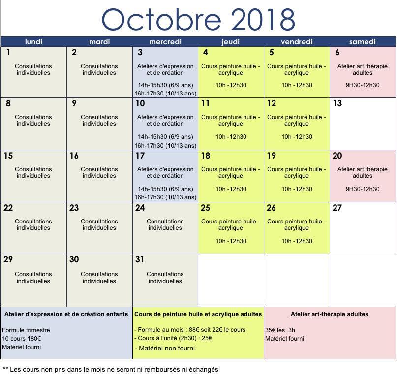 Planning octobre 2018 des cours de peinture et des ateliers artistiques pour les enfants et les adultes proposés par Lysiane Crespin à Le Patio à Auray.